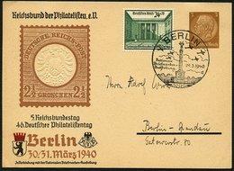 DT.REICH 1940, PRIVAT-GS ZUSATZFRANKATUR, SST BERLIN NATIONALE BRIEFMARKENAUSST. - Lettres & Documents
