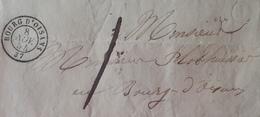"""DF40266/1200 - ✉️ (LAC) - BOURG D'OISANS (Isère) 8 JANV. 1954 à BOURG D'OISANS - """" J """" Dans Un Cercle - TAXE MANUSCRITE - 1849-1876: Période Classique"""