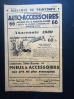 ETABLISSEMENTS AUTO-ACCESSOIRES .dépliant Publicitaire Réclames De Printemps .avril 1939. Paris 17. - Advertising