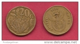 SOUTH AFRICA, 2000, 2 Off Nicely Used Coins 20 Cent C2096 - Sud Africa