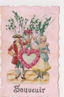 Carte Celluloïd Chromo Cœur De Roses Et Petit Couple Amoureux 18 Eme Siecle Herbe Séchée - Autres