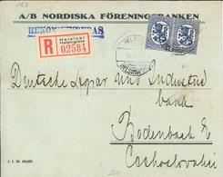 Helsinki Helsingfors 1929 Nordiska Föreningsbanken - Rs: Verschlussvignette - Brief An Deutsche Spar- & Industriebank - Finlandia