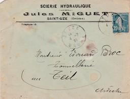 26-Enveloppe Publicitaire J.Miguet Scierie Hydraulique Saint-Uze (Drôme) 1921 - France