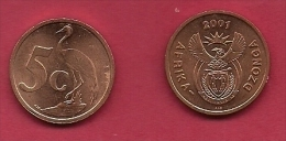 SOUTH AFRICA, 2001, 2 Off Nicely Used Coins 5 Cent C2135 - Sud Africa