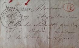 """DF40266/1210 - ✉️ (LAC) - ROMANS (Isère) 14 JUILLET 1944 à LYON - """" Id """" Rouge / """"A """" / Cursive """" ST LATTIER """" - Marcophilie (Lettres)"""