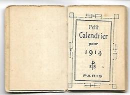 Petit CALENDRIER De 1914 - Format Fermé 3.2 X 4.5 Cm - Calendriers