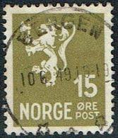 1940. Lion. 10 ØRE. LUXUS BERGEN 10. 6. 49. (Michel 223) - JF167077 - Usati