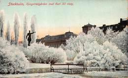 STOCKHOLM SWEDEN~KUNGSTRADGARDEN Med KARL XII STATY IN WINTER SNOW & ICE 1910s POSTCARD 44764 - Sweden
