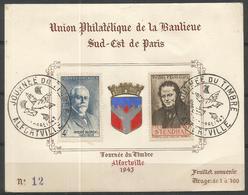 1942 - N° 550 Et 551 Oblitérés (o) Sur Feuillet Souvenir N°12 - JOURNEE Du TIMBRES 1943 – ALFORTVILLE - France
