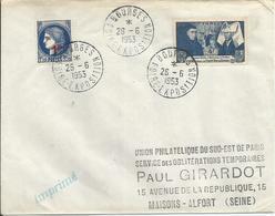 1943 - N° 583 Et 486 Oblitérés Sur Lettre - FOIRE EXPO De BOURGES 1953 - France