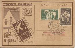 1943 - N° 585 Et 586 Sur Carte Numérotée EXPO PHIL. COLOMBES 1946 - France