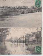 Lot De 2 CPA Paris - Inondations 1910 - Avenue De Versailles ... / Pont De L'Alma - Überschwemmung 1910