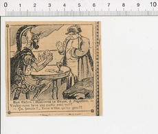 2 Scans Humour De 1907 Partie Jeu De Cartes Ancien Napoléon Et Alexandre Le Grand Histoire / Côtelettes Viande 51B5 - Vieux Papiers
