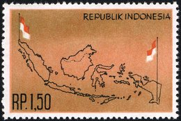 1963 1.50r Map, Mint Light Hinged - Indonesia
