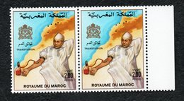 1987- Morocco - Maroc- Blood Transfusion- Transfusion Sanguine - Pair Of Stamps - Complete Set 1v.MNH** - Medizin