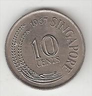 Singapore 10 Cents 1967 Km 3    Unc - Singapour
