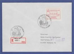 Belgien Sonder-ATM PORTUS'87 Wert 93.00 Auf R-Brief Nach Hamburg - Postage Labels