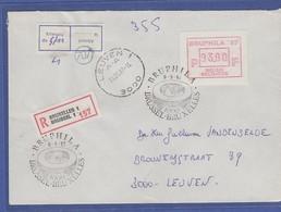 Belgien Sonder-ATM BRUPHILA '87 Wert 93.00 Auf R-Brief Nach Leuven - Postage Labels