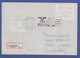 Belgien Sonder-ATM Postscheckamt 1988 Wert 93.00 Auf R-Brief Nach Luxemburg - Postage Labels