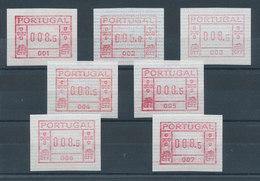 Portugal Frama-ATM 1981, Je Eine ATM Der  Aut.-Nr. 001-007 (erste 7 Geräte) ** - ATM/Frama Labels