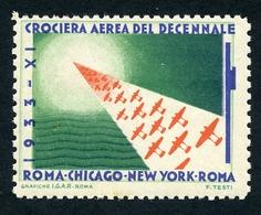 CINDERELLA : VIGNETTE - ROMA CHICAGO NEW YORK - CROCIERA AEREA DEL DECENNALE, 1933 - Cinderellas