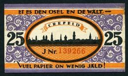 NOTGELD : CREFELD, 1921 : 25 PFENNIG - [ 3] 1918-1933 : Weimar Republic