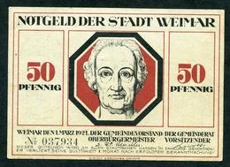 NOTGELD : STADT WEIMAR - 50 PFENNIG - [ 3] 1918-1933 : Weimar Republic