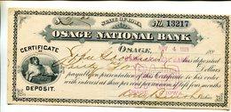 CERTIFICATE OF DEPOSIT OSAGE IOWA 1885 DOG SAINT BERNARD ?? 3.25 - Cheques & Traveler's Cheques