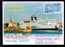 DEUTSCHE SCHIFFSPOST Scandlines Fährschiff Rügen SASSNITZ-RÖNNE 12.07.01 - Non Classés