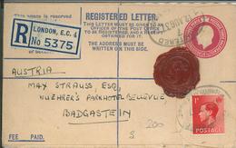 Sander & Rosenthal R-Brief London Nach Bad Gastein über Wien - Wachssiegel Auf Ganzsache - 1902-1951 (Könige)