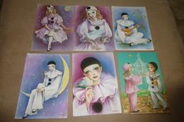 LOT DE 6 ILLUSTRATIONS .....COLOMBINE..PIERROT..TENDRESSE...SIGNE VIRGINIE - Cartes Postales