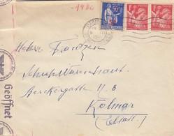 Env Affr Y&T 433 X 2 + 482 Obl PARIS Du 8 VII 1941 Adressée à Kolmar Avec Censure - Guerra Del 1939-45