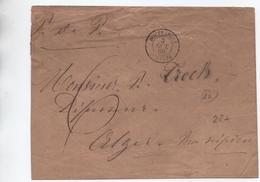 1860 - ENVELOPPE De BOUFFARICK (ALGERIE) Pour ALGER - ETIQUETTE HUISSIER BOUFARICK AU DOS - Postmark Collection (Covers)
