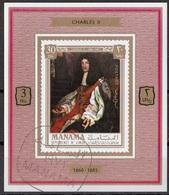 "Manama 1971 Mi. 739 Kings & Queens ""Charles II Stuart"" Quadro Dipinto Da J.M. Wright Paintings Sheet CTO Deluxe Barocco - Manama"