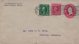Ganzsache 1913 - Bickerdike - Tidemann Fort Worth Texas - Galveston (vorgelagerte Insel) - Lettres & Documents