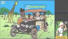 Belgique Bloc 93 + Timbre Tintin MNH** Prix émission 1,26 € - Blocks & Sheetlets 1962-....