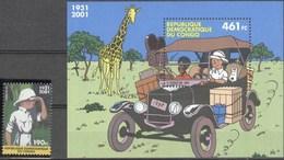 Belgique Bloc Congo 205 + Timbre Tintin MNH** Prix émission 651 Fc - Blocks & Sheetlets 1962-....
