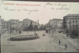 Cpa, ZARAGOZA, Fototipia Castaneira Y Alvarez, Plaza De Aragon (vista Partial), Animacion, Animée,1911, ESPAGNE - Zaragoza