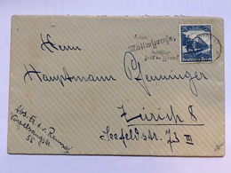 GERMANY 1936 Cover Stuttgart To Zurich Tied With German Railway Centenary 25pf - Allemagne