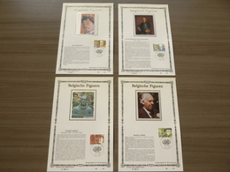 """BELG.1986 2225 2226 2227 & 2228 FDC Filatelicards Zijde NL. : """" Belgische Figuren / Personnalités Belges """" - 1981-90"""