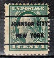 USA Precancel Vorausentwertung Preo, Locals New York, Johnson City 1917-209 - Préoblitérés