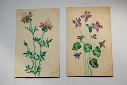2 Cpa Découpage Et Collage De Timbres Postes    Fleurs - Stamps (pictures)