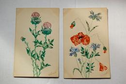2 Cpa Découpage Et Collage De Timbres Postes    Fleurs (autres) - Timbres (représentations)