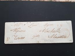 CG28 - Lett. Da Cagliari X Torino 3/3/1856 - Bollo Cerchio Sardo Rosso + P.P. - No Testo - Al Verso Bollo Genova - 1. ...-1850 Prefilatelia
