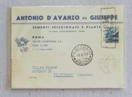 """Cartolina Postale Con Testata Pubblicitaria """"Antonio D'Avanzo Fu Giuseppe"""" Sementi Roma Per Filottrano - 16/06/1950 - 6. 1946-.. Repubblica"""