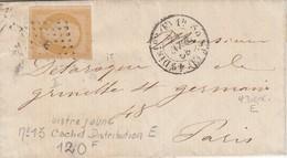LETTRE. 24 AVRIL 58. N° 13 BISTRE JAUNE ?. PARIS DISTRIBUTION E - Postmark Collection (Covers)