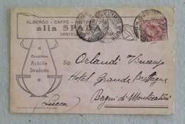 """Cartolina Postale Pubblicitaria """"Albergo Alla Spada"""" Castelfranco Veneto Per Bagni Di Montecatini - 08/08/1915 - 1900-44 Victor Emmanuel III"""