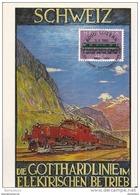 """80 - 85 - Carte Suisse Ligne Du Gothard Avec Timbre Et Oblit Spéciale """"100ème Anniversaire""""  1982 - Poststempel"""
