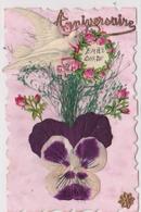 Carte Composée Chromo Colombe Bouquet De Rose Herbe Fleur En Tissu Debut 1900 - Cartes Postales