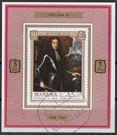 Manama 1971 Mi. 741 Kings & Queens Ritratto Di William Guglielmo III Sheet CTO Deluxe Imperf. - Manama